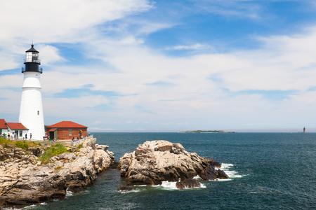 lockdown: Cape Elizabeth, Maine, USA: July 6, 2016: Locked down view of Portland Head Light (lighthouse) in Cape Elizabeth (Portland suburb), Maine.