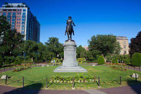 george washington statue: BOSTON,MASSACHUSETTS,USA - JULY 2,2016: George Washington Statue at Boston Public Garden, Boston, Massachusetts, USA.The Public Garden founded 1837.