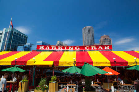 one on one meeting: BOSTON,MASSACHUSETTS,USA - JULY 15,2016: The famous restaurant Barking Crab.Located in Boston and Newport, the Barking Crab has become one of the citys best-loved meeting and eating spots.