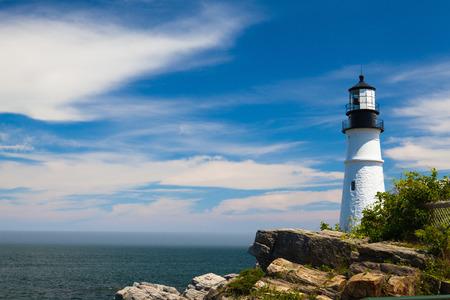 ポートランド ヘッド ライト (灯台) エリザベス岬 (ポートランド郊外)、メイン州、アメリカ