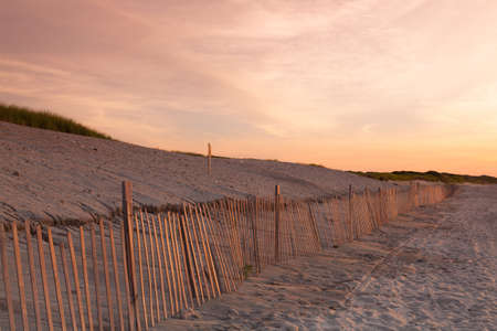 cape cod: Sunset on the empty beach, Cape Cod, USA