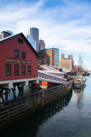 boston tea party: BOSTON,MASSACHUSETTS,USA - JULY 2,2016: Boston Tea Party Museum, which is a floating history museum with live reenactments, multimedia exhibits and tearoom.