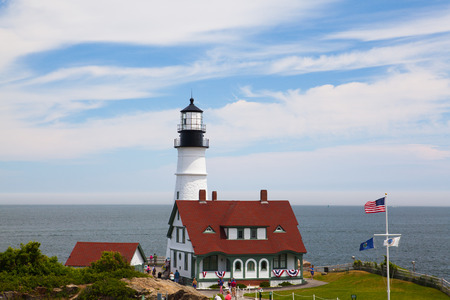 lockdown: Cape Elizabeth, Maine, USA: July 6, 2016: Locked down view of Portland Head Light (lighthouse) in Cape Elizabeth (Portland suburb), Maine.