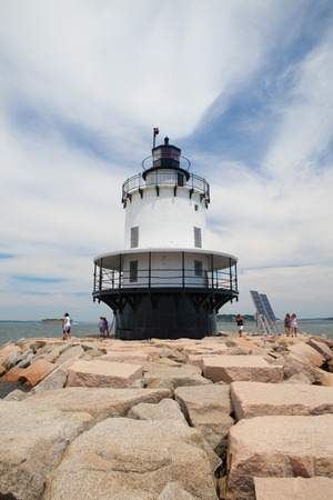 PORTLAND, MAINE - JULY 5, 2016: Portland Breakwater Lighthouse (Bug Light) is a small lighthouse at the south Portland Bay, Portland, Maine, USA.It was built in 1875 and is one of Maines most elegant lighthouses. Editorial