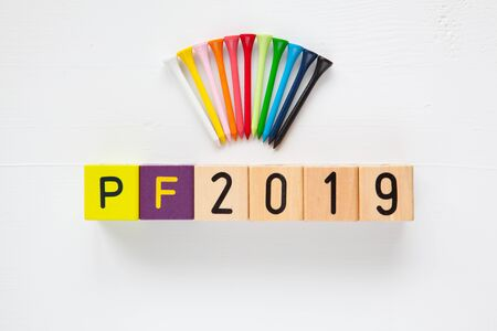 pour feliciter: P.F.2019  - an inscription from childrens wooden blocks and golf tees - Flat Lay Photography