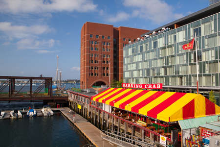 BOSTON,MASSACHUSETTS,USA - JULY 15,2016: The famous restaurant Barking Crab.Located in Boston and Newport, the Barking Crab has become one of the citys best-loved meeting and eating spots.