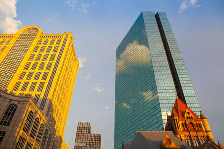 massachussets: Boston,Massachusetts,USA - July 4,2016: Golden Five Hundred Boylston Building in Boston, Massachusetts. This building in the Back Bay in known as the headquarters of the fictional Crane, Poole & Schmidt law firm from the TV show Boston Legal.