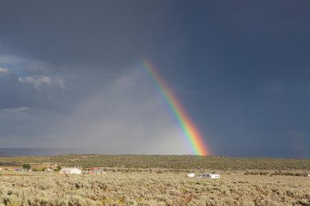 desert storm: Desert storm with amazing rainbow in Arizona, USA.