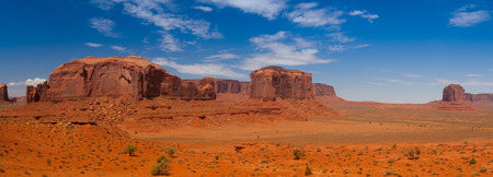 Panorama landscape - Iconic peaks of rock formations in the Navajo Park of Monument Valley in Utah