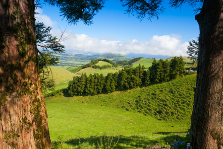 The volcanic hills on Sao Miguel island, Azores, Portugal Stock Photo