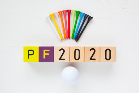 pour feliciter: P.F.2020 - an inscription from childrens wooden blocks and golf ball and wooden tees - Flat Lay Photography Stock Photo