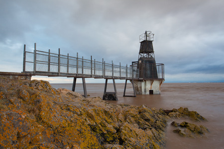 bristol channel: Battery Point Lighthouse, Portishead, Great Britain. Vintage lighthouse at sunset. Stock Photo