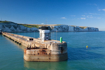 The Port of Dover is the nearest English port to France, at just 34 kilometres (21 mi) away. Stock Photo