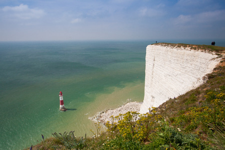 top seven: White chalk cliffs and aerial view of the Beachy Head Lighthouse, Eastbourne, East Sussex, England Stock Photo