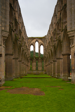 abbey ruins abbey: Ruins of the Cistercian Rievaulx Abbey near Helmsley in North Yorkshire, England