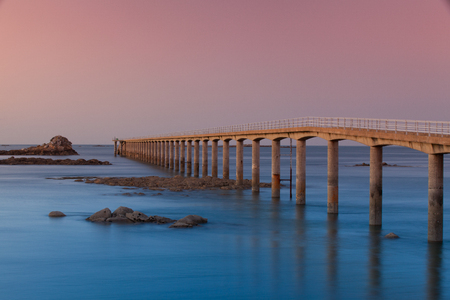 Famous Roscoff bridge at sunrise in the north of France
