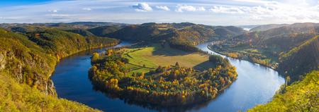 Famous view on Vltava river, Slapy  dam, Czech Republic, Panorama image