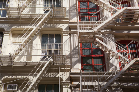 emergency stair: The typical old houses with fire stairs in New York Stock Photo