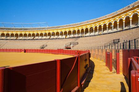 corrida de toros: Sevilla, España - Noviembre 19,2016: Arena de toros, plaza de toros en la Feria anual Sevilla.During Sevilla en Sevilla, es el sitio de una de las ferias taurinas más conocidos en el mundo.