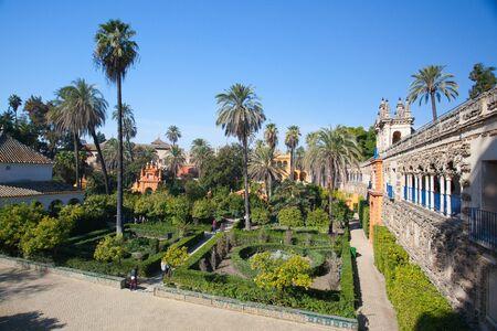 Seville, Spain - November 18,2016: Real Alcazar Gardens in Seville.The Alcazar of Seville is a royal palace in Seville, Spain, originally developed by Moorish Muslim kings. Editorial