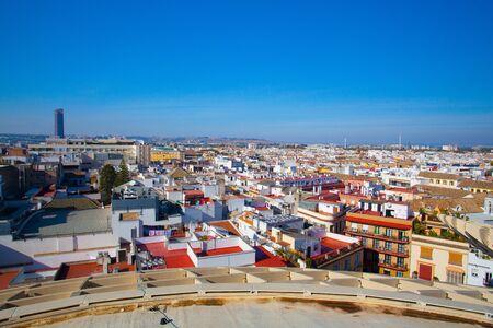 Seville, Spain - November 19,2016: View from Metropol Parasol. It is the modern architecture on Plaza de la Encarnacion.