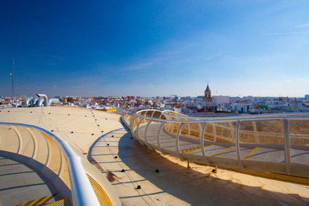 Seville, Spain - November 19,2016: View from Metropol Parasol is the modern architecture on Plaza de la Encarnacion