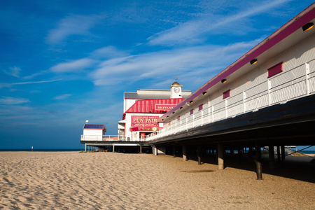 britannia: Great Yarmouth, Great Britain - July 8, 2010:  Famous Britannia Pier. It is situated on the Great Yarmouth coastline in East Anglia. Bustling pier with seaside theatre shows, arcades and rides, plus food and drink venues.