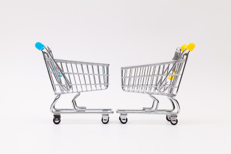 mart: Two shopping trolley on the white background