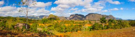 pinar: Famous Cuba farmland tobacco area, Valley de Vinales, Pinar del Rio, Cuba. Stock Photo