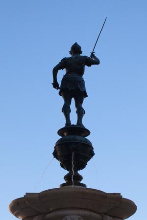 Seville, Spain - November 18,2016:  Statue on Mercury fountain at Plaza de San Francisco near the Seville Town Hall.Spain.