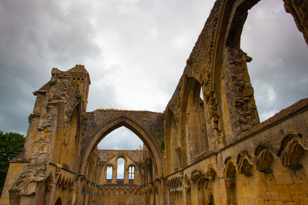 Glastonbury, Great Britain - July 15,2010: Glastonbury Abbey was a monastery from 7th century in Glastonbury, Somerset, UK. The ruins are now grade I listed and a Scheduled Ancient Monument