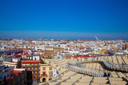 Seville, Spain - November 19,2016: Metropol Parasol is the modern architecture on Plaza de la Encarnacion.