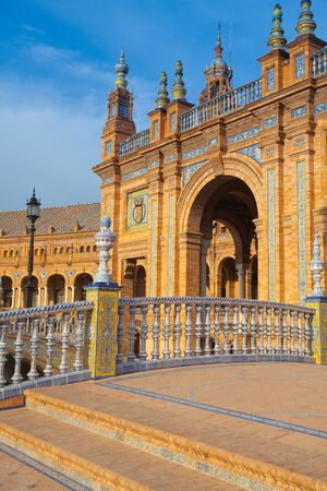 Seville, Spain - November 18,2016:  View of Plaza de Espana complex, built in 1929, is a huge half circle with a total area of 50,000 square meters