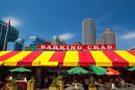 favorite soup: Boston, Massachusetts,USA - July 15,2016: The famous restaurant Barking Crab.Located in Boston and Newport, the Barking Crab has become one of the citys best-loved meeting and eating spots. Editorial