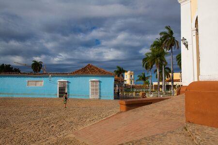 principal: Trinidad, Cuba - January 30,2017: Plaza Mayor -Principal square of Trinidad. One of UNESCOs World Heritage sites since 1988. Sancti Spiritus Province, Cuba.