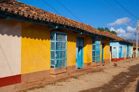renovated: Trinidad, Cuba - January 29,2017:The typical old colonial street in Trinidad, Cuba. (UNESCO World Heritage)