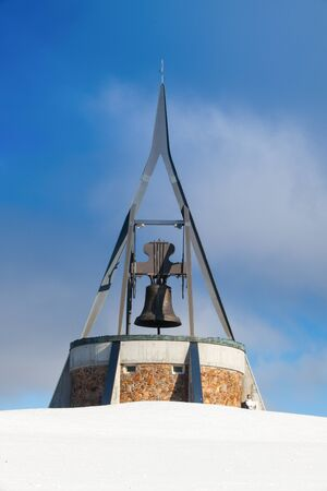 Peace Bell Concordia on Kronplatz peak.Bell is made up of 24 segments stretching as far as 36 m.