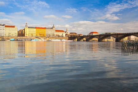 Prague,Czech Republic - March 20 ,2017: View on the Prague panorama with Palacky bridge at sunset.The Prague bridges arching over the Vltava River are not only vital connecting links, but also valuable works of architecture . Editorial