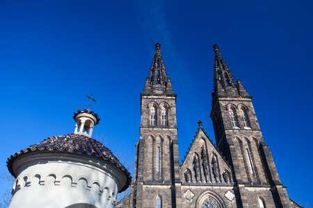Basilica of St. Peter and St. Paul in Prague. The Basilica is a neo-Gothic church in Vysehrad fortress in Prague, Czech Republic Stock Photo