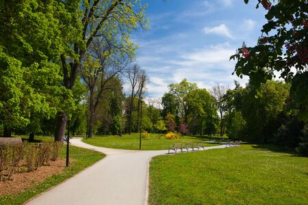 Public park in spring day, Olomouc, Czech Republic