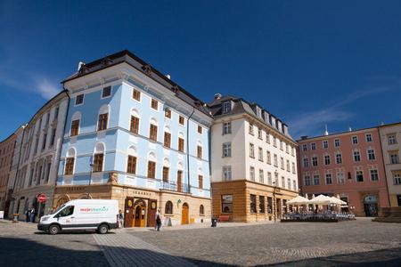 moravia: Olomouc, Czech Republic - May 5,2017: View on the Dolni square of Olomouc, Czech Republic, Original name Dolni namesti. Famous unesco heritage city and tourist attraction.