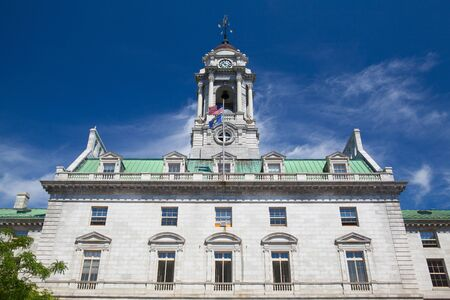Portland, Maine - July  5, 2016: The Portland City Hall is the center of city government in Portland, Maine.The structure was built in 1909-12 and was listed on the National Register of Historic Places in 1973 Editorial