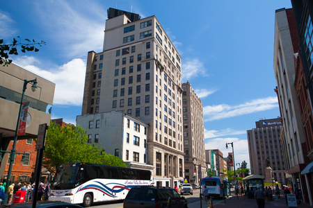 Portland, Maine, USA - July  5, 2016 - Time and Temperature Building. The Time and Temperature Building is a fourteen story office building located on Congress Street in downtown Portland, Maine.