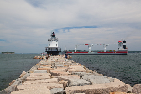 Portland,Maine,USA - July 5, 2016: Warenborg Ship near the Portland, USA.Wagenborg Shipping Sweden AB works with the industry, directly or via brokers and forwarders, for all kind of shipments. Editorial