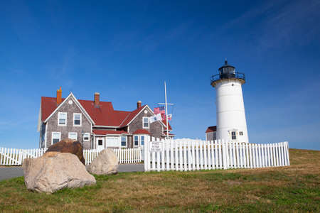 cod hole: Cape Cod, USA - July 12, 2016: Nobska Light, also known as Nobska Point Light is a lighthouse located in Woods Hole on the southwestern tip of Cape Cod, Massachusetts.