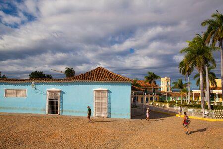 Trinidad, Cuba - January 30,2017: Plaza Mayor -Principal square of Trinidad. Typical colonial building with window wooden grate in Trinidad, Cuba. Sancti Spiritus Province, Cuba.