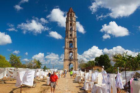 Manaca Iznaga, Cuba - January 29,2017: Typical Cuban market near the Manaca Iznaga old slavery tower near Trinidad, Cuba. The Manaca Iznaga Tower is the tallest lookout tower ever built in the Caribbean sugar region.