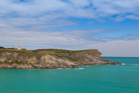 Cape Mayor lighthouse in Santander,Cantabria,Spain Stock Photo