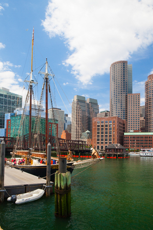 massachussets: Boston,Massachusetts,USA - July 15,2016 : The Roseway schooner in Boston harbor. It is a wooden gaff-rigged schooner launched on 24 November 1925 in Essex, Massachusetts. Now restored it is listed as a National Historic Landmark. Editorial