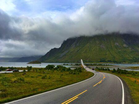 On the road on Lofoten islands,Norway Stock Photo